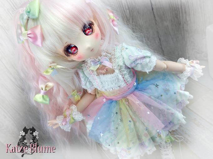 【KatzeBlume】DOLLCE製 DollceDoll Aヘッドカスタム+洋服+にゃんこセット_画像2