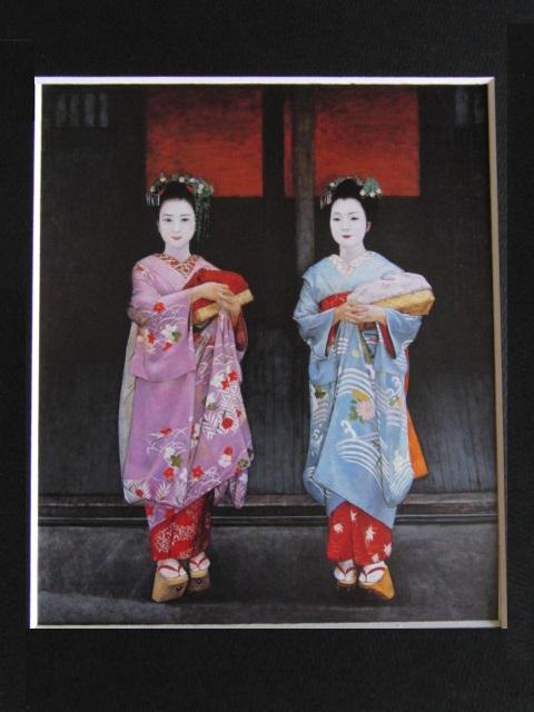 弦田英太郎、祇園の姉妹、希少な画集より、新品高級額、額装付、状態良好、送料込み、京都、arte_画像3