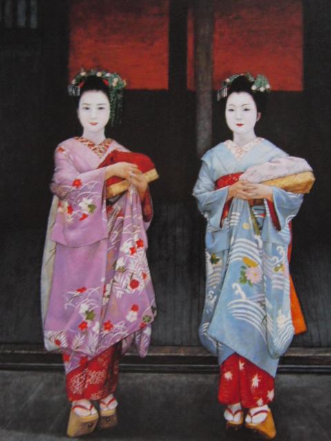 弦田英太郎、祇園の姉妹、希少な画集より、新品高級額、額装付、状態良好、送料込み、京都、arte_画像1