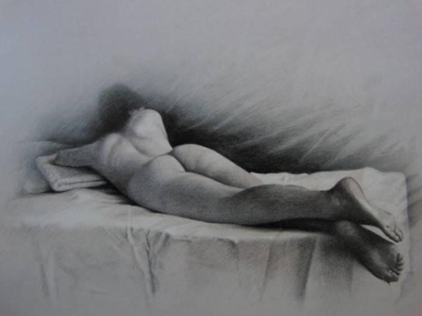 三尾公三、朝、希少・大判画集画、新品高級額・額装付、状態良好、送料込み、裸婦、fir_画像1