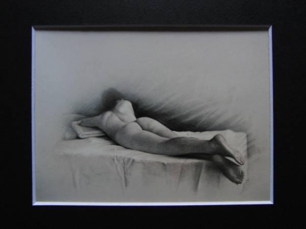 三尾公三、朝、希少・大判画集画、新品高級額・額装付、状態良好、送料込み、裸婦、fir_画像3