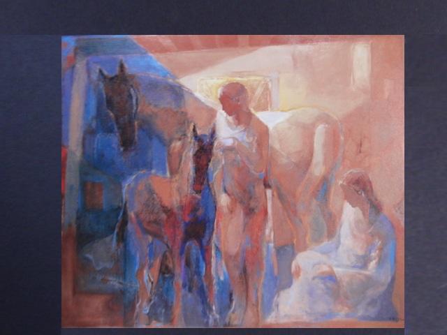 斎藤静輝、【馬舎の母仔】、希少な画集より、状態良好、新品高級額装付、送料無料、洋画 油彩 日本の画家、人物画、arte_画像3