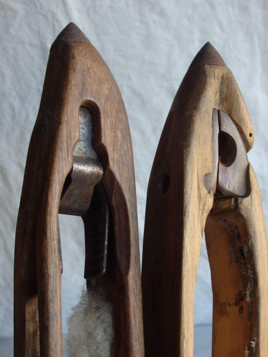 oフランスアンティーク 19世紀 糸の道具 2個セット 道具 裁縫 織物 蚤の市 オブジェ ハンガー 木製 ウッド _画像3