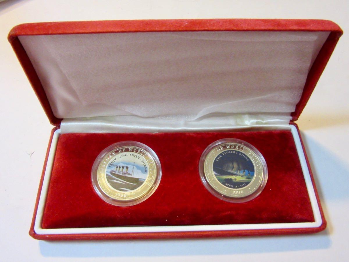 S13★1998年 タイタニック号 ソマリア カラーコイン2枚まとめてセット ケース付き