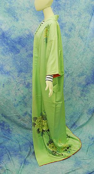 (3)付け下げ リサイクル着物 正絹  中古 リメイク生地 グリーン Japanese Kimono 身丈約164cm 64.5inch_画像4