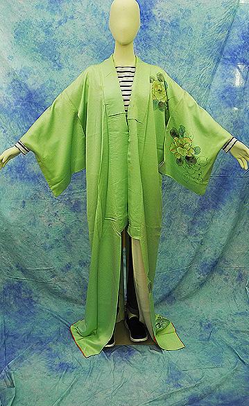 (3)付け下げ リサイクル着物 正絹  中古 リメイク生地 グリーン Japanese Kimono 身丈約164cm 64.5inch_画像1