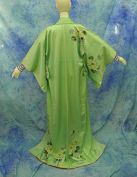 (3)付け下げ リサイクル着物 正絹  中古 リメイク生地 グリーン Japanese Kimono 身丈約164cm 64.5inch_画像3