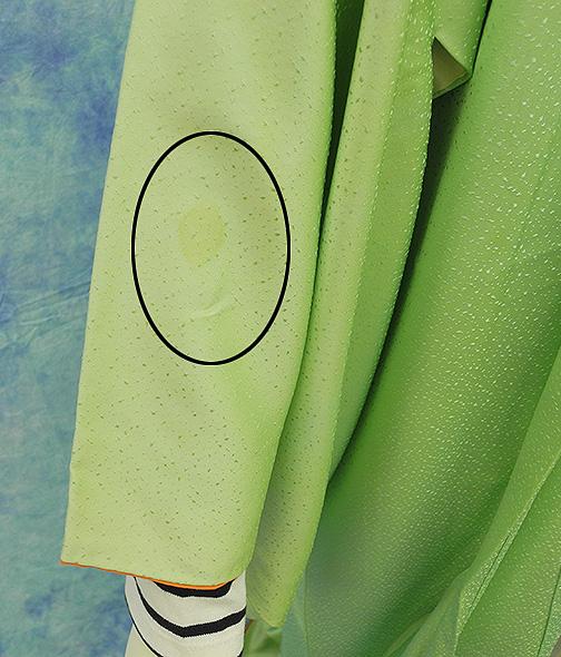 (3)付け下げ リサイクル着物 正絹  中古 リメイク生地 グリーン Japanese Kimono 身丈約164cm 64.5inch_画像7