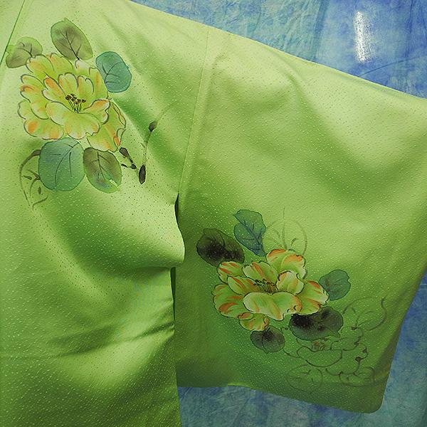 (3)付け下げ リサイクル着物 正絹  中古 リメイク生地 グリーン Japanese Kimono 身丈約164cm 64.5inch_画像2