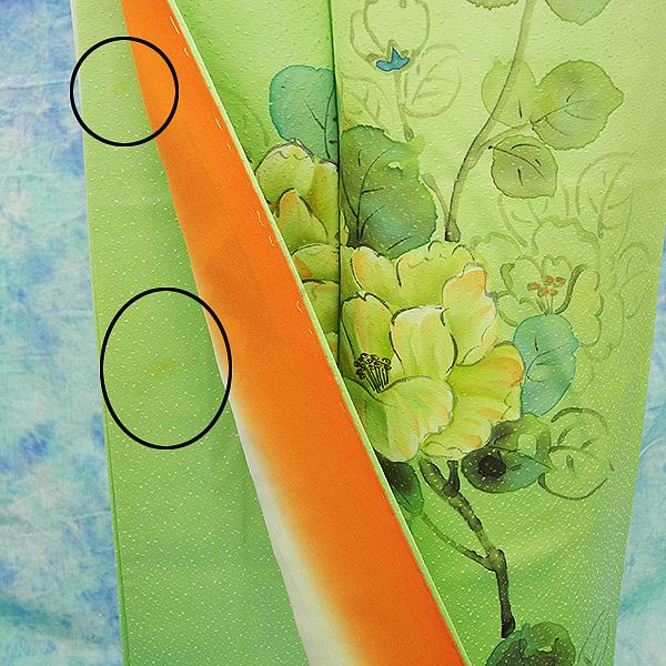(3)付け下げ リサイクル着物 正絹  中古 リメイク生地 グリーン Japanese Kimono 身丈約164cm 64.5inch_画像6