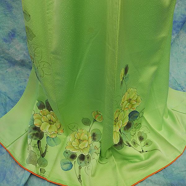 (3)付け下げ リサイクル着物 正絹  中古 リメイク生地 グリーン Japanese Kimono 身丈約164cm 64.5inch_画像5