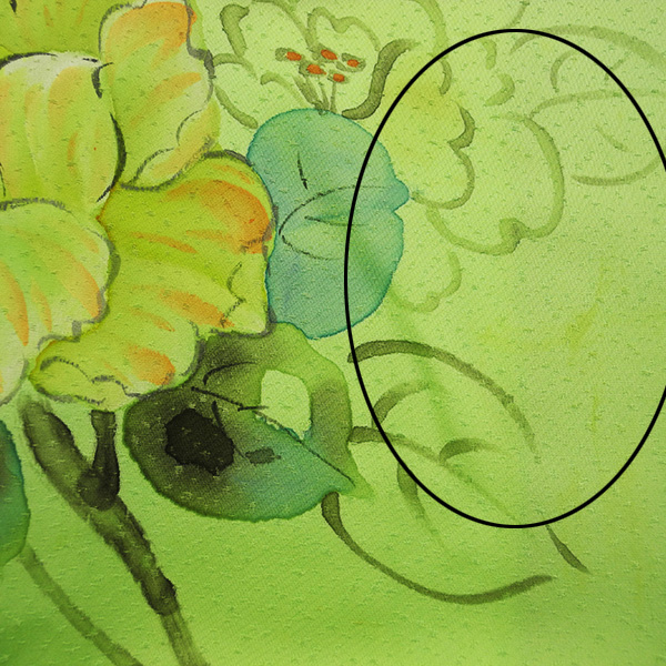 (3)付け下げ リサイクル着物 正絹  中古 リメイク生地 グリーン Japanese Kimono 身丈約164cm 64.5inch_画像9