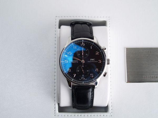 【美品】IWC ポルトギーゼ IW371447 自動巻き ブラック メンズ高級時計