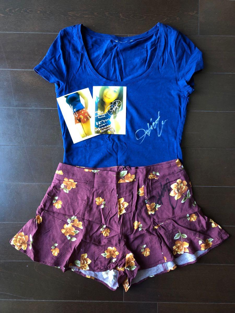 須藤寛子◆Tシャツ&ショートパンツのセット・生写真・サイン入り
