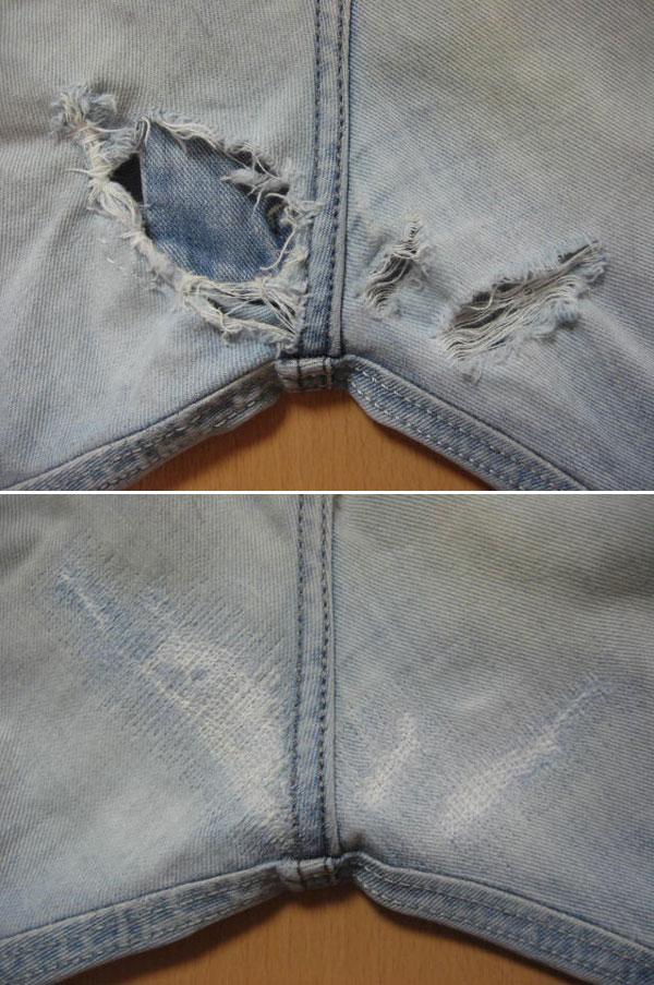 膝・太腿ダメージジーンズ修理/ファスナー交換/お手頃価格で承りますb_画像5