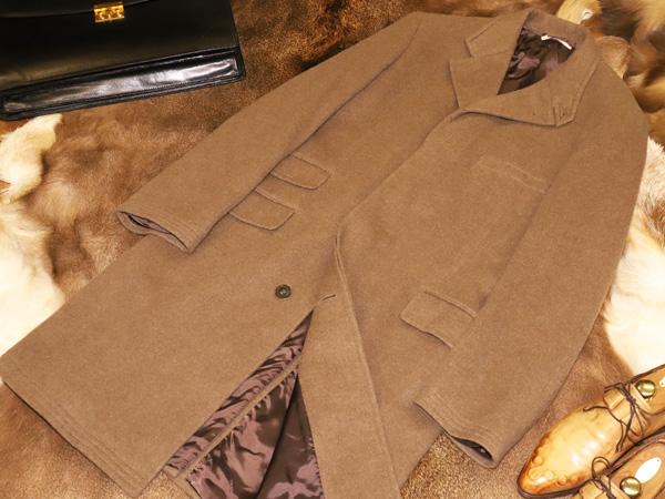超美品 エルメス HERMES 襟裏レザー仕立て最高級総カシミヤ100%スタンドカラーロングコート メンズ50 男性服 ジャケット 本物保障 正規品