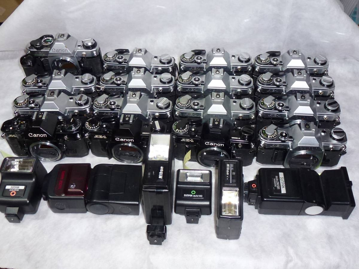 ジャンク品大量 キヤノンAE-1 14台 A-1、AE-1プログラム各1台 ストロボ6個+オマケ