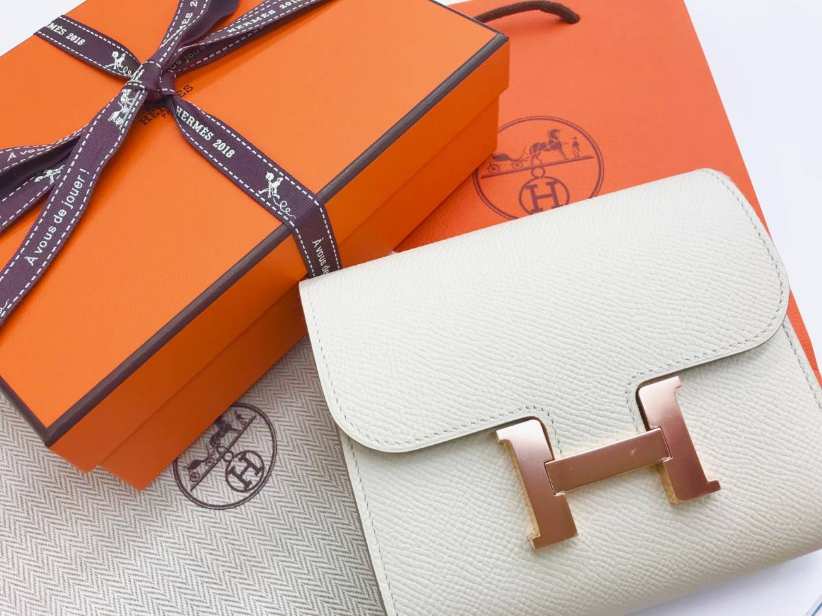 ■新品■HERMESエルメス 財布■コンスタンス コンパクト クレ アイボリー ヴォーエプソン ピンクゴールド金具 送料込■