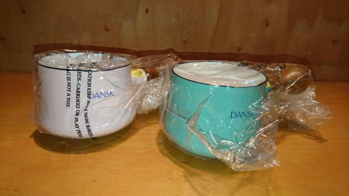 (39)DANSK ホーロー製なべ 2個セット ピンク ブルー