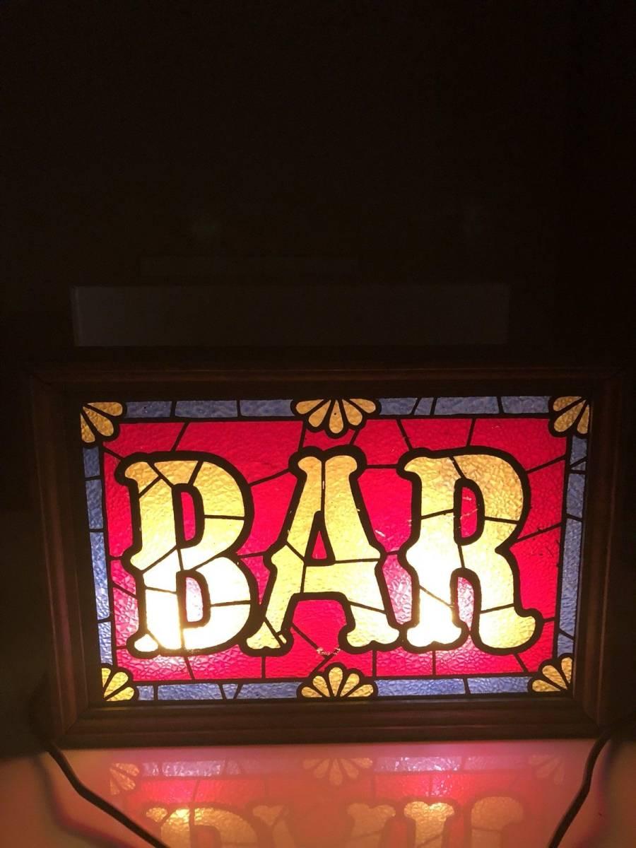 ビンテージ 看板 ステンドグラス ライトアップビール Barware IMS Corp.