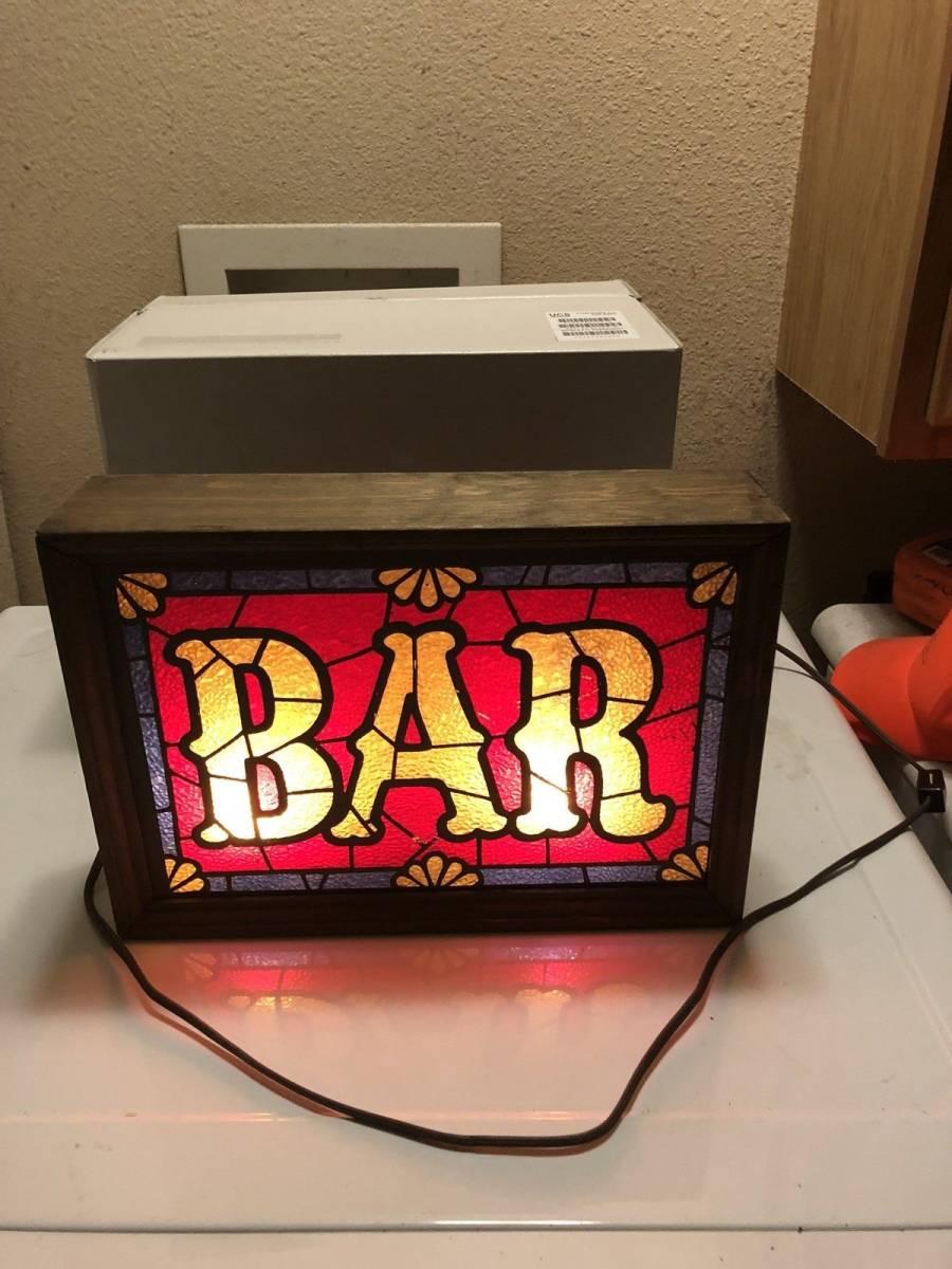 ビンテージ 看板 ステンドグラス ライトアップビール Barware IMS Corp. _画像6