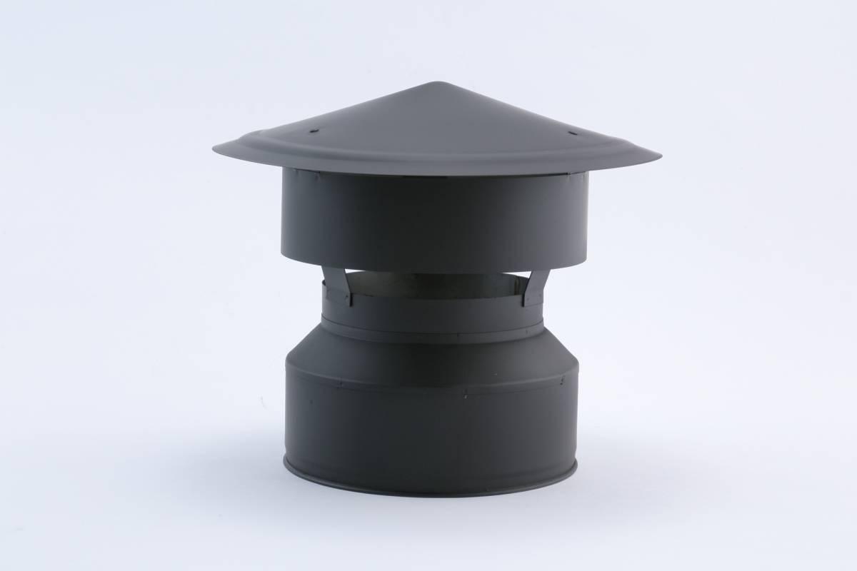 New 耐熱黒塗装断熱二重煙突 レイン・シールド・ユーロトップ (150-200)