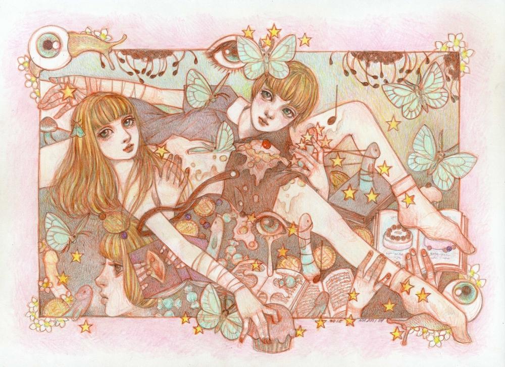 自分で描いた鉛筆画◆A4サイズ◆夢のなかの、おやつの時間◆中井結★