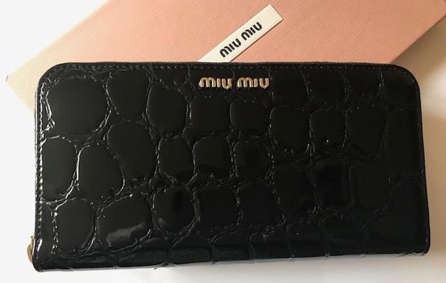 新品◆ミュウミュウ miu miu◆クロコ型押し レザー ラウンドファスナー長財布*5ML506 黒 正規品_画像1