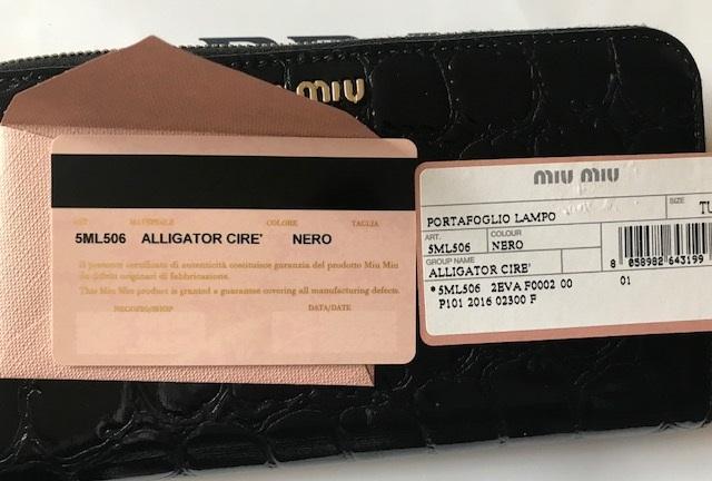 新品◆ミュウミュウ miu miu◆クロコ型押し レザー ラウンドファスナー長財布*5ML506 黒 正規品_画像5