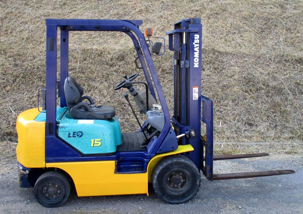 コマツ 中古 フォークリフト 1.5t ガソリン FG15C-16 2000年 揚高3m ノーパンクタイヤ 神戸から (KOMATSU 1500kg 即活躍の現役リフト)