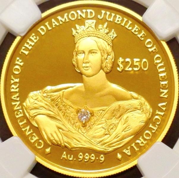 【希少ダイヤモンド金貨】ヴィクトリア女王 即位160年 $250金貨 NGC PF69 ULTRA CAMEO!