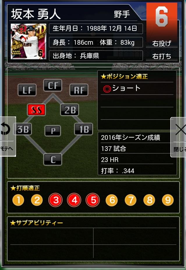 プロ野球プライド PRIDE 2017 4煌 AW 坂本 巨人 アワード_画像2