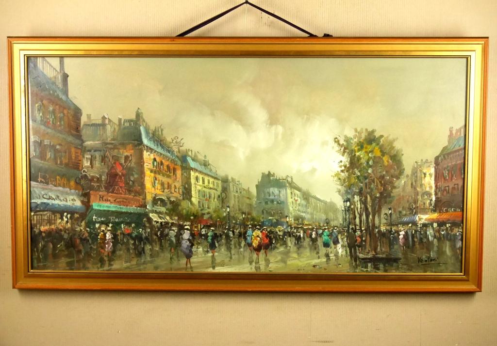 Ventri『パリ』◆油彩50号◆直筆サイン有◆特大ワイド!額装