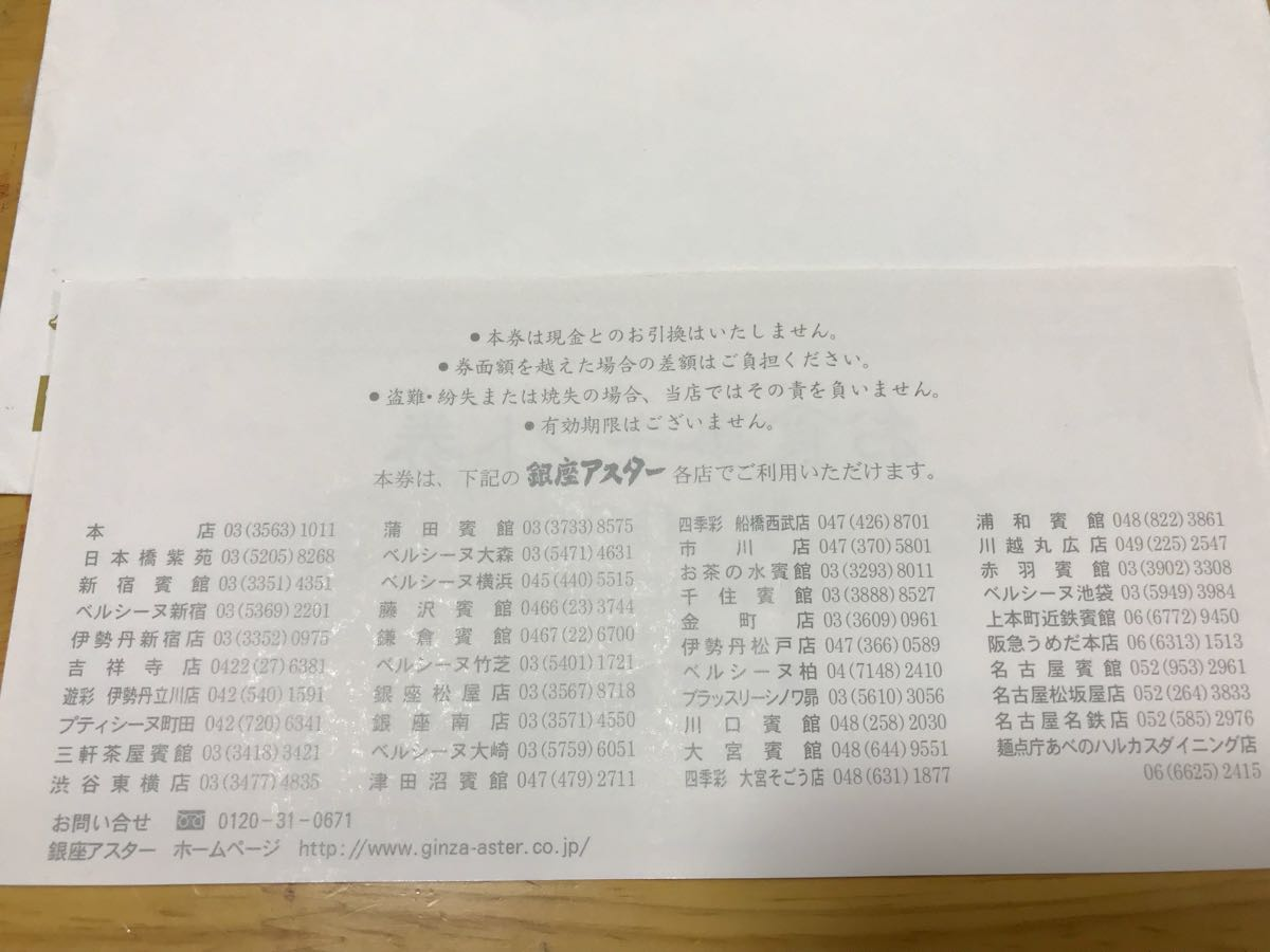 銀座アスター お食事ギフト券 3000円分 有効期限なし_画像2