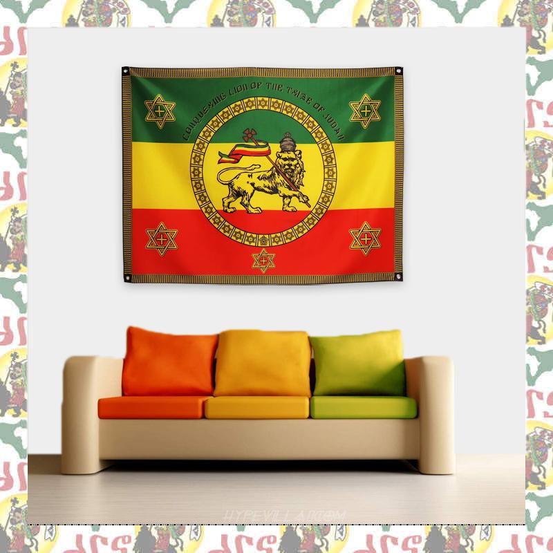 【drs】エチオピア 皇帝ハイレセラシエ一世 Imperial Standard 大 (レゲエ フラッグ ライオン ラスタ JAH ETHIOPIA HAILE SELASSIE)_画像1