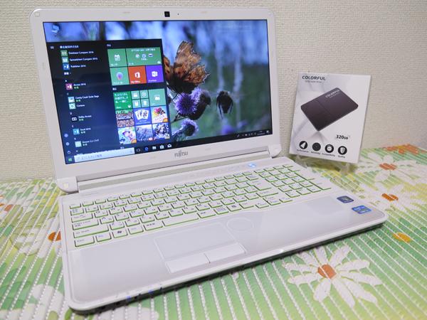 【高速Core i3(Sandy Bridge)★爆速SSD】富士通 AH54/E ホワイト 新品SSD320GB 最新Windo