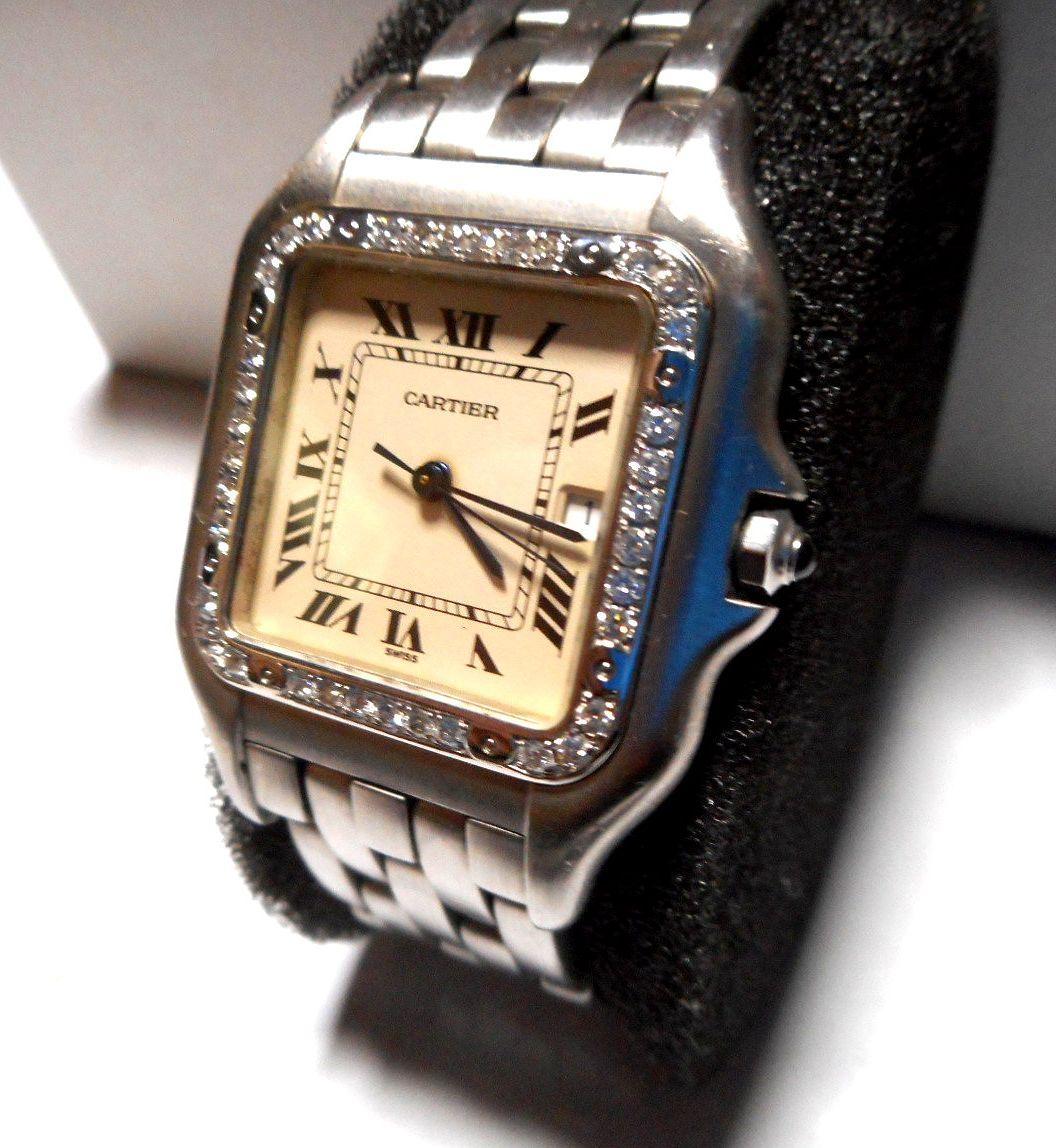 カルティエ Cartier サントス SM ベゼル アフターダイヤ加工いたします ドゥモワゼルSM 2698 WF902005 750WG ガルベ WF9003Y8 パンサー 2_画像7
