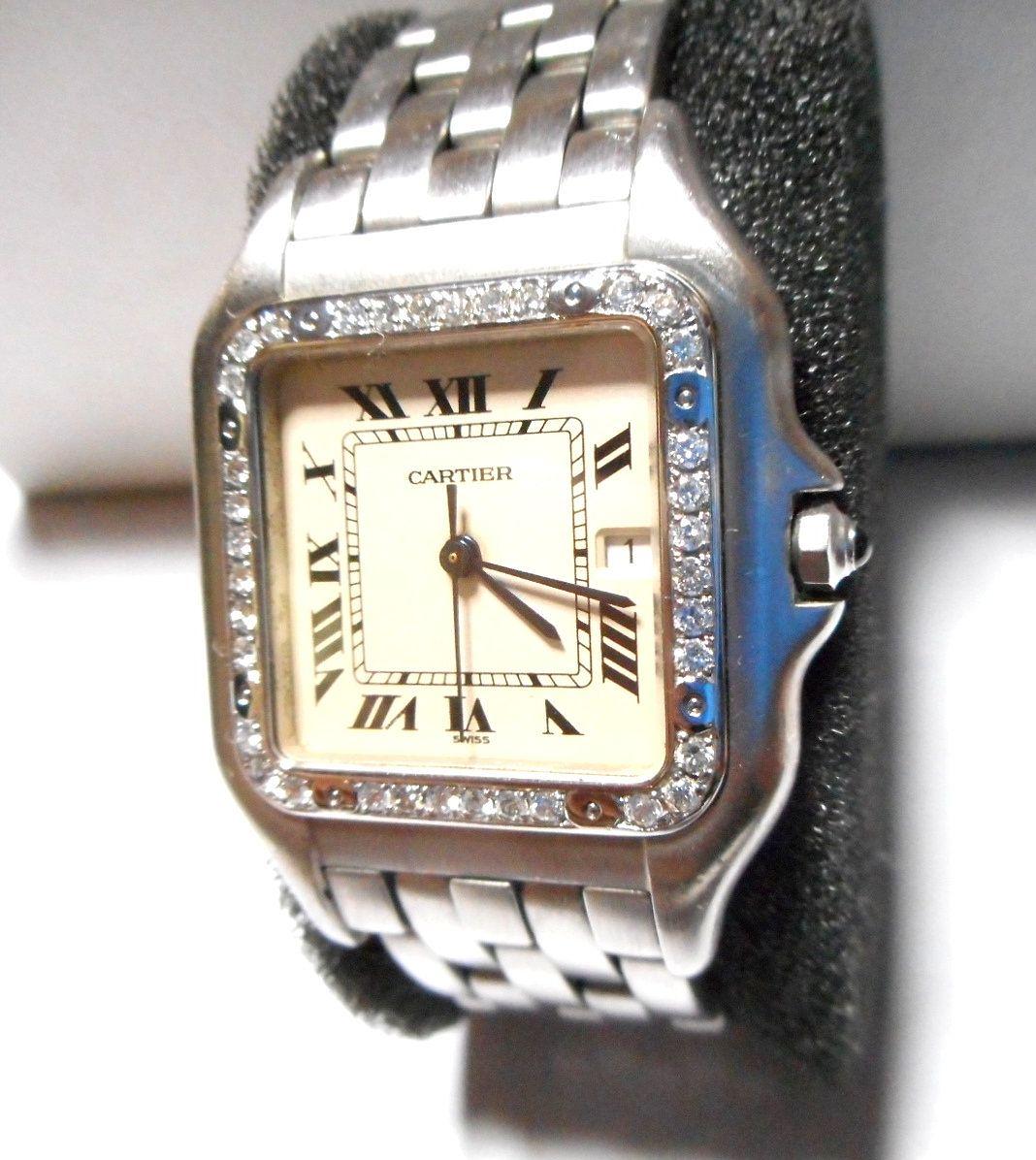 カルティエ Cartier サントス SM ベゼル アフターダイヤ加工いたします ドゥモワゼルSM 2698 WF902005 750WG ガルベ WF9003Y8 パンサー 2_画像3
