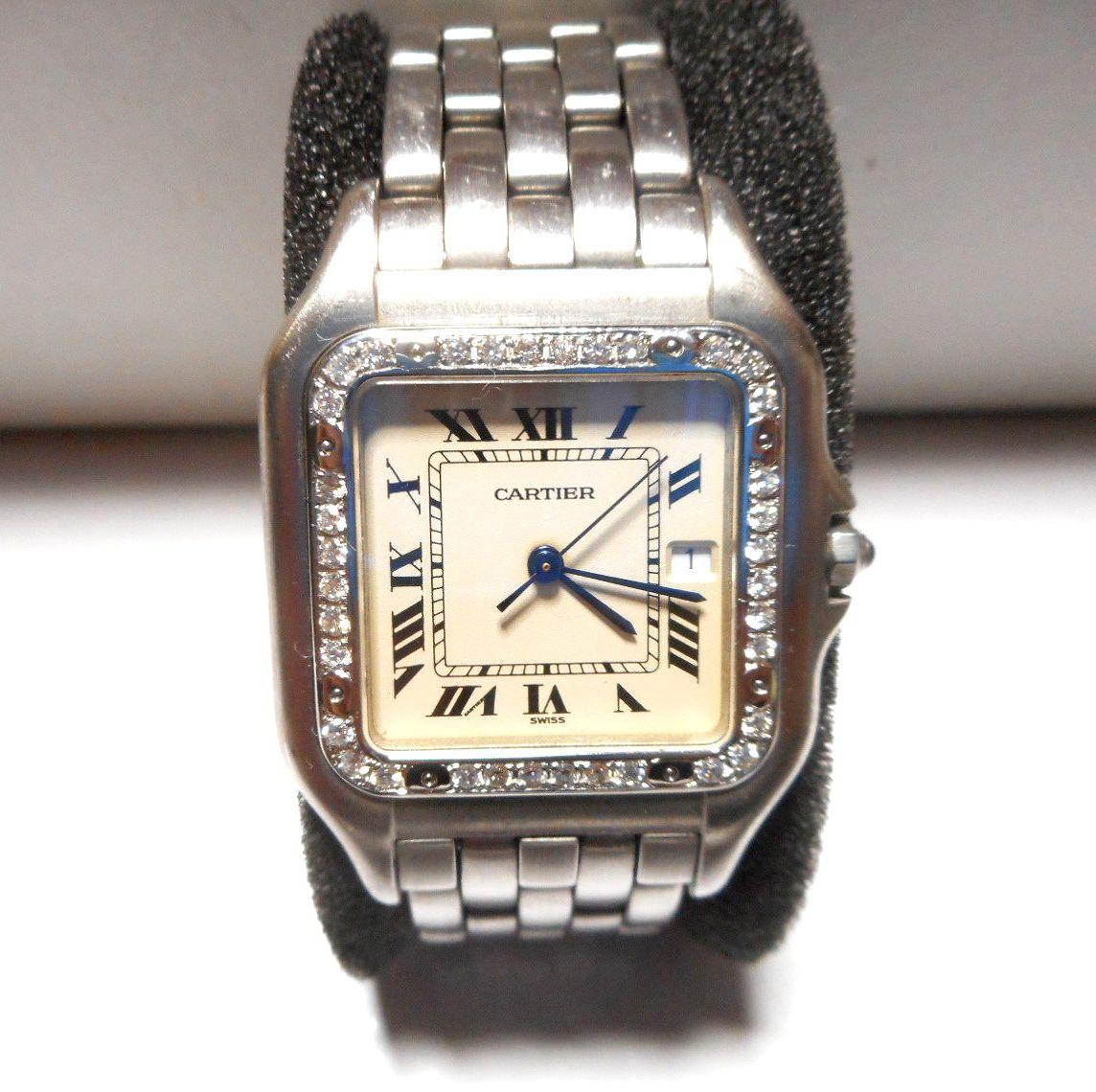 カルティエ Cartier サントス SM ベゼル アフターダイヤ加工いたします ドゥモワゼルSM 2698 WF902005 750WG ガルベ WF9003Y8 パンサー 2_画像5