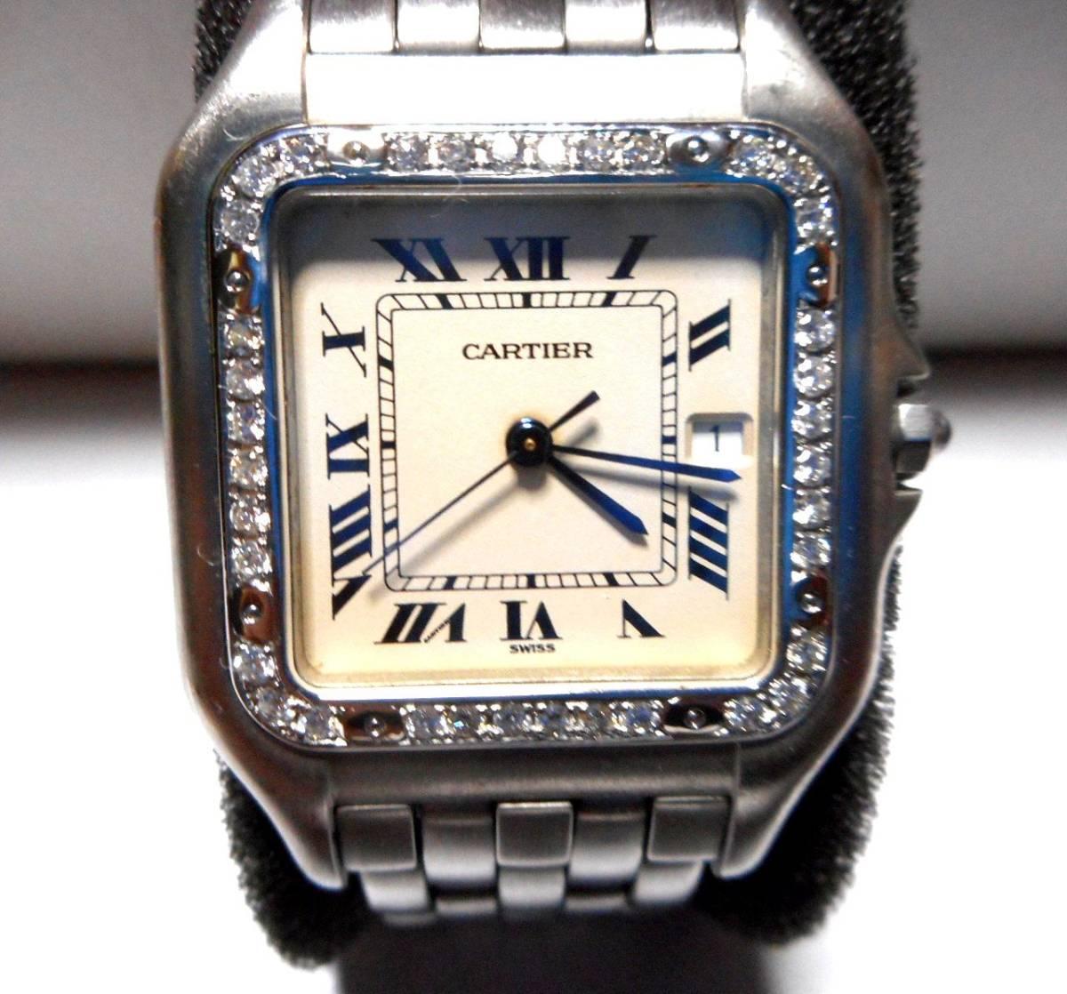 カルティエ Cartier サントス SM ベゼル アフターダイヤ加工いたします ドゥモワゼルSM 2698 WF902005 750WG ガルベ WF9003Y8 パンサー 2_画像1