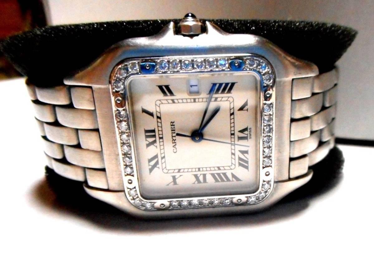 カルティエ Cartier サントス SM ベゼル アフターダイヤ加工いたします ドゥモワゼルSM 2698 WF902005 750WG ガルベ WF9003Y8 パンサー 2_画像9