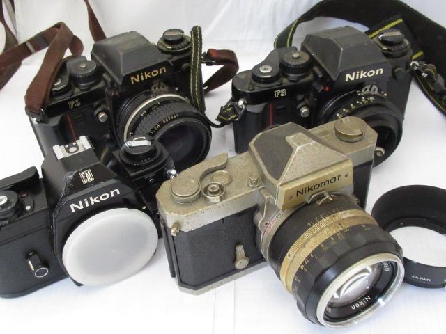 49☆ニコン ジャンクセット F3 NIKKOR 28mm 2.8/F3 GN AUTO NIKKOR 45mm 2.8/EM/Nikomat NIKKOR S AUTO 50mm 1.4 1円~