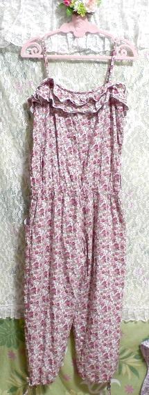 ピンク花柄フリルキャミソール/キュロット/ワンピース/ネグリジェ/寝巻き Pink flower pattern ruffle camisole/culotte/onepiece/negligee_画像2