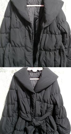 黒のダウンとフェザーのフードと帯び付きあったかコート/外套 Black feather hood down coat_画像5