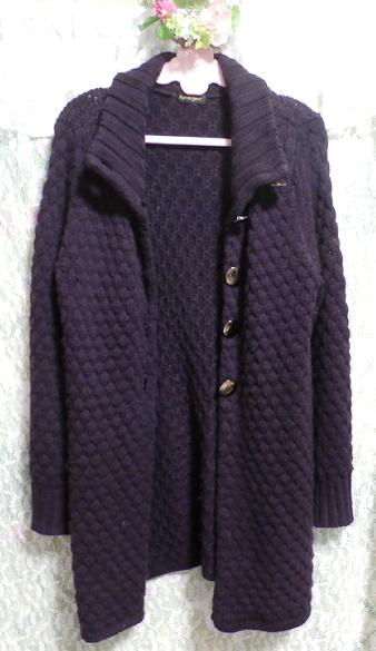 紫パープルの手編みロングカーディガン/羽織 Purple knit long cardigan/coat_画像2