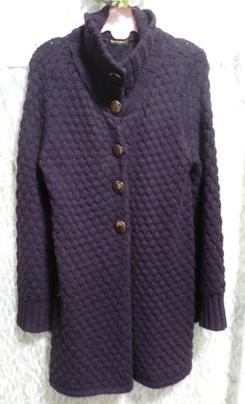 紫パープルの手編みロングカーディガン/羽織 Purple knit long cardigan/coat_画像3
