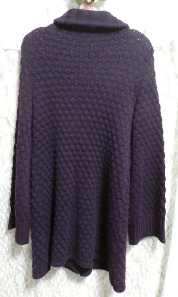 紫パープルの手編みロングカーディガン/羽織 Purple knit long cardigan/coat_画像4