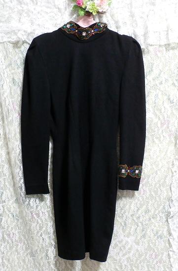 コスプレ用宝石付き黒ブラックローブセーター/トップス/ニット/ワンピース Cosplay jeweled black sweater/tops/knit/onepiece_画像1