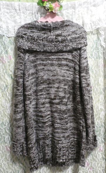 フード付き灰色白黒シマシマ貝殻ボタン手編み状ロングカーディガン/羽織 Hooded gray monochrome seashell button hand knit long cardigan_画像3