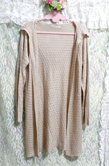 亜麻色フード付き編みレースロング羽織/カーディガン Flax color hood knit lace long/cardigan_画像1
